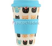 Bambusový nápojový hrneček 400 ml kočky