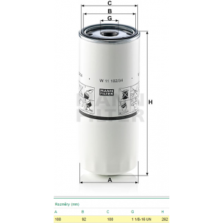 Filtr oleje W11102/34 VOLVO FH 12, FH 16, RVI Magnum