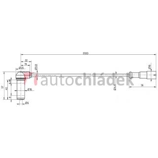 Snímač ABS 2 m zahnutý + pouzdro